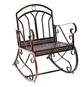 Alto respaldo curvado bronce rojo hierro patio porche mecedora con 2en 1función: tanto un banco y una mecedora–Ideal para cualquier zona al aire libre, como patio, porche, Gazebo, jardín