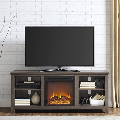 Ameriwood Home Edgewood TV Console with Fireplace for TVs up to 60'' (Distressed Brown Oak) by Altra Furniture