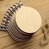 YOOE 10pcs Wooden Round Bauble Hanging Decorations Gift Tag Shapes for Valentine's Day Wedding Gift DIY