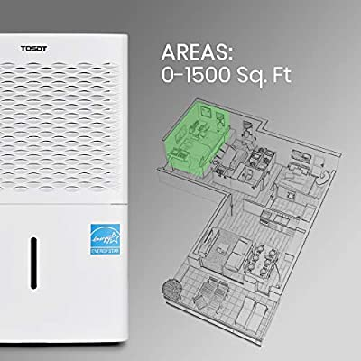 .com - TOSOT 1, 500 Sq. Ft. 30 Pint Dehumidifier - Energy Star, Quiet, Portable with Wheels, and Continuous Gravity Drain - Efficiently Removes Moisture for Home, Basement, Bedroom or Bathroom -