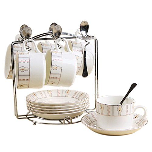Porcelain Tea Cup and Saucer Coffee Cup Set with Saucer and Spoon 20 pc, Set of 6 SI-TC-XGDD