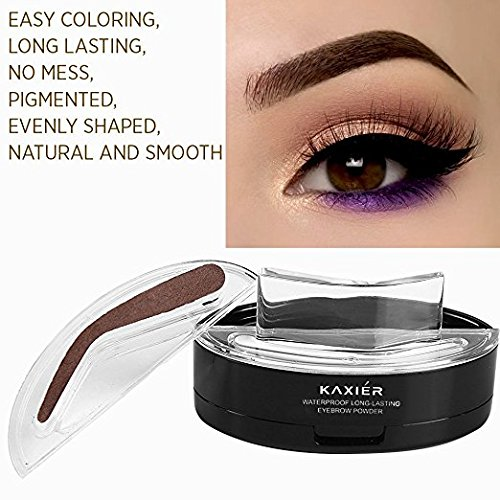 Taipo 3 Stencils Waterproof Eye Brow Stamp Perfect Eyebrow Power Seal Nature Delicate Shape Makeup Fashion Unique Brow Powder for Eyebrows Beginners Busy People (Dark Brown) by Taipo (Image #4)