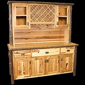 Hickory Buffet And Hutch Wine Rack Real Wood Western Lodge Rustic