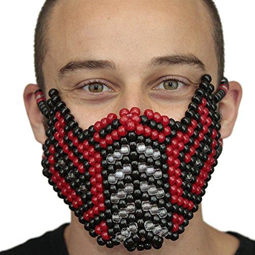 """Masque Kandi """"Sub-Zéro Mortal Kombat V2 Rouge"""" complet - Kandi Gear, masque pour rave party, masque pour Halloween, masque de perle pour festivals de musique et fêtes"""