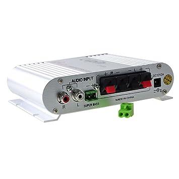 Amplificador mini Hi-Fi 2.1 de 200 W con radio de amplificador MP3 estéreo FR para coche o moto: Amazon.es: Electrónica