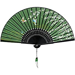 Nestarfactory Flower Butterfly Designs Handheld Folding Fan with Exclusive Gift (Green)