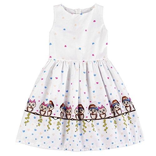 Bird Sleeveless (Weixinbuy Kid Baby Girls' Cartoon Printed Cotton Sleeveless Summer Dresses)