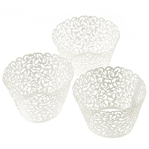 Oksale 120Pcs Filigree Little Vine Lace Laser Cut Hollow Cup Muffin Holder Cake Paper Case Wraps Cupcake Wrapper for Wedding Birthday Party Decoration (white)