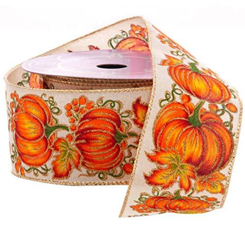 Fall Wired Ribbon Rustic Pumpkins - 2.5