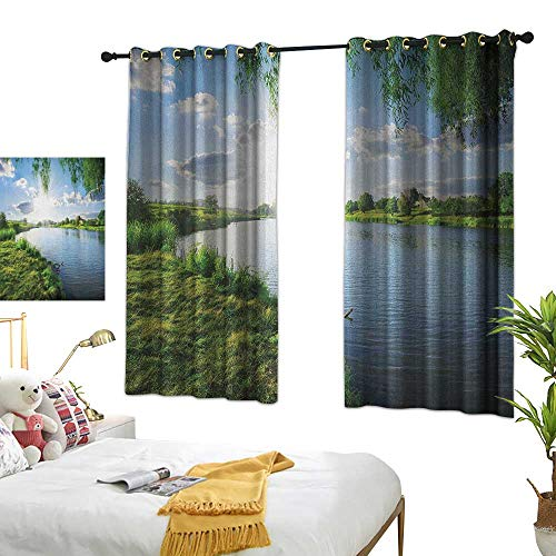 LsWOW Bedroom Curtains W63 x L72 Nature,Sunny Day on a Calm River in Summer Sunshines Greenery Grass Outdoors Cloud, Fern Green Sky Blue Blackout Window -