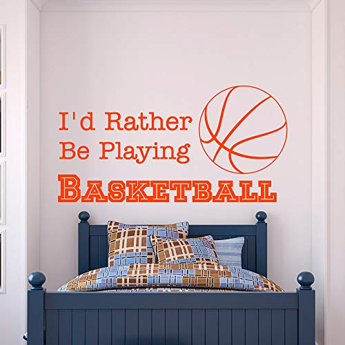 (huandu Removable Vinyl Wall Stickers Act Mural Decal Art Home Decor Basketball Quote I'd Rather Be Playing Basketball Sports Quotes for Kids Boys)