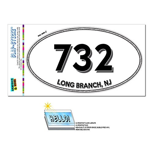 Graphics and More Area Code Oval Window Laminated Sticker 732 New Jersey NJ Adelphia - Middlesex - Long Branch