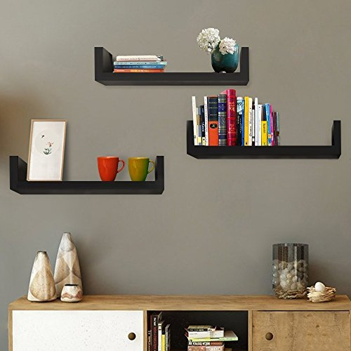 Set of 3 Floating Shelves U Shape Wall Mounted Bookshelf Storage Display Shelves (Black) (Single Bookshelf)