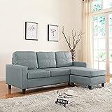 Moderne Livinf Reversible Linen Fabric Sectional Sofa, Light Grey
