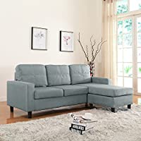 Moderne Livinf Reversible Linen Fabric Sectional Sofa, Light Grey