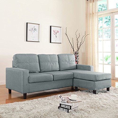 Modern small space reversible linen fabric sectional sofa for Small beige sectional sofa