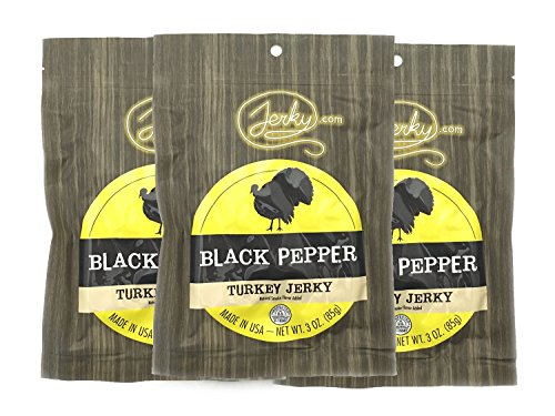 Jerky.com's Black Pepper Turkey Jerky - 3 PACK - Made From Whole Muscle Turkey Breast - Low in Sugar, No Added Preservatives, No Added Nitrates and No Added MSG - 9 total oz.