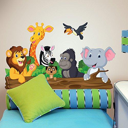 wall art - Adesivo da Muro per Bambini con Motivo con Animali  chiacchieroni, Multicolore, 100 x 30 cm, R00145