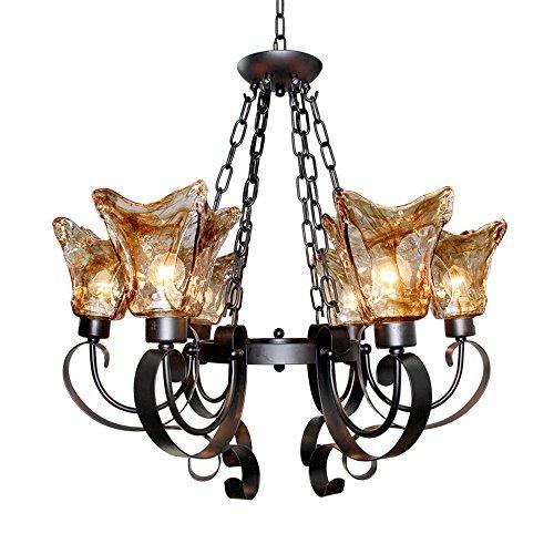 Bronze Finish 5 Light Chandelier (LNC 5 Lights Antique Finish Chandelier Lighting Glass Shade ( Bulb Not Included)