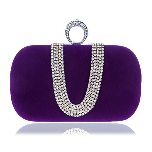 Banquet Red Bag encrusted Fly Color Bag evening U Evening Diamond bag worn shaped Hand Evening Purple Bag Fashion Women's xYqYCT0w