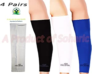 HiCool Soharic - UV Protection Cooler Arm Sleeves for Bike/Hiking/Golf 4 Pairs (8 Pieces) Provide Cool to Your Hand Meet All The Standard-Sun Protective