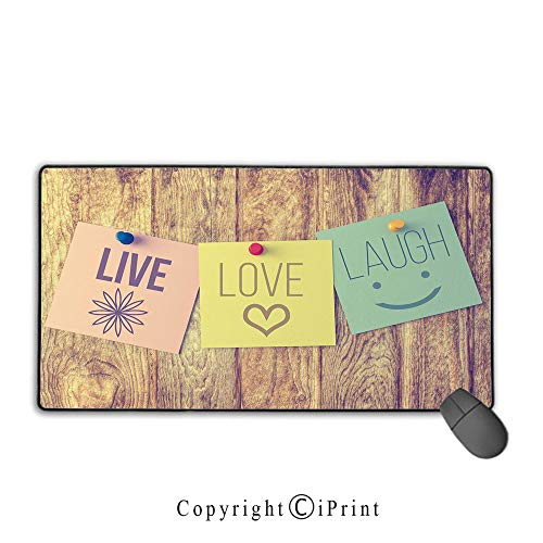 Extended gaming mouse pad with stitched edges,Live Laugh Love Decor,Inspirational Wisdom Post It Perks on Wooden Rustic Background Image Decorative,Multicolor,Suitable for laptops, computers, PCs, -