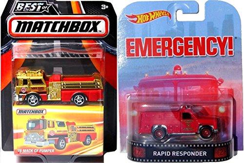 Hot Wheels Emergency Retro Entertainment Matchbox 2016 Fire Trucks Heroic Rescue 2 PK MBX Red Fire Engine Best Of Matchbox '75 Mack CF Pumper 2016 Premium Vehicles