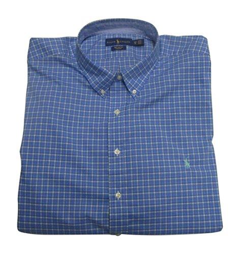 RALPH LAUREN Men's Dress Shirt Big Tall Long Sleeve Poplin Stretch Cotton (3XB, Bayside Green/Navy) ()