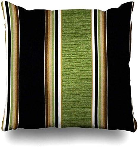 LRD Kussensloop 18 x 18 inch bruin groen wit breedte en dunne strepen bedrukt kussensloop vierkante sofa schattige kussenslopen