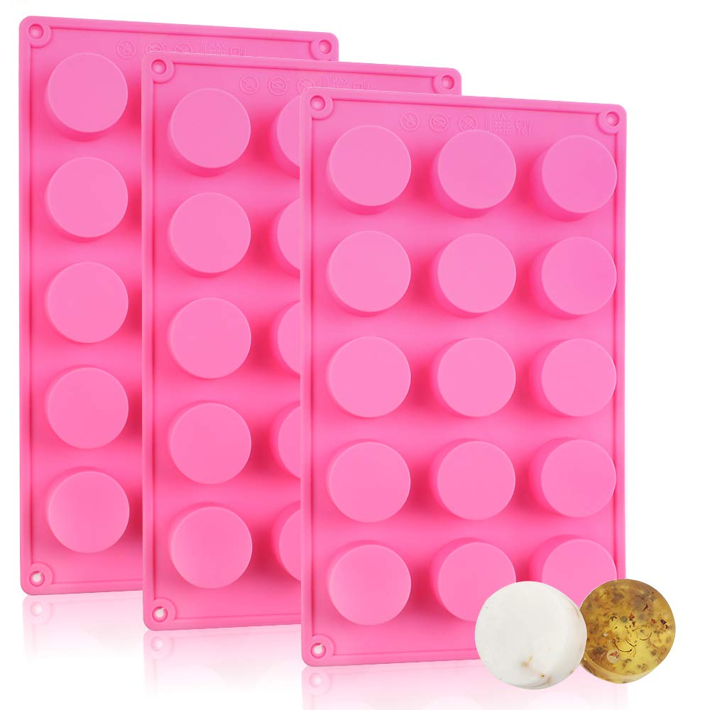 YGEOMER Silicone Soap Mold, 3pcs 15 Cavities Cylinder Mold for Handmade Soap Baking Cake Chocolate Cookie