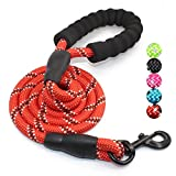 #8: 5 FT Strong Dog Leash with Comfortable Padded Handle and Highly Reflective Threads for Medium and Large Dogs (Red)