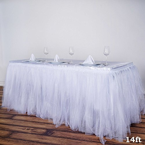 Tableclothsfactory 14 FT Two Layered Tulle Tutu Wedding Party Banquet Table Skirt With Satin Edge - White Tulle Vanity