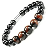 ONE ION Fire Nero Power Bracelet - Tourmaline and Tiger Eye - 3,000 Gauss Magnetic - 3 Sizes (8.75 Inches)