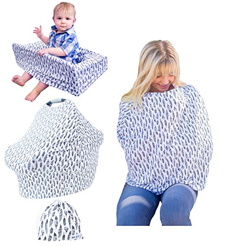Nursing Breastfeeding Car Seat Cover - Multi-Use Cover for Girls and Boys. Use as a Carseat Canopy, Scarf, or on Highchair