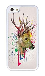 Iphone 5C Case,WENJORS Uncommon deer Soft Case Protective Shell Cell Phone Cover For Iphone 5C - TPU White