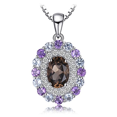 JewelryPalace 1.4ct Genuine Smoky Quartz Sky Blue Topaz Amethyst Cluster Pendant 925 Sterling Silver 18 ()