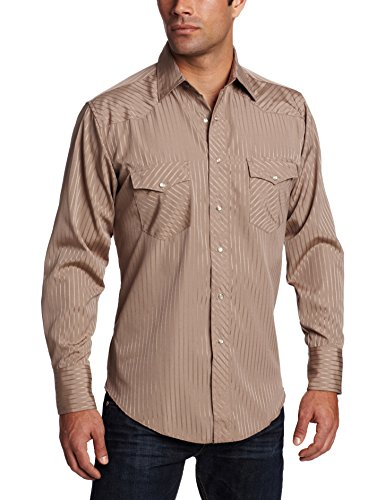 Wrangler Men's Sport Western Two Pocket Long Sleeve Snap Shirt, Dark Tan, ()