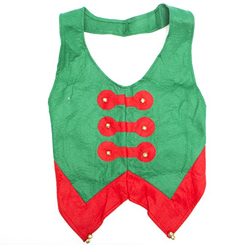 [Felt Elf Vest with Bells Costume - Standard - Chest Size 42-46] (Elf Outfit For Women)