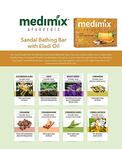 Medimix Ayurvedic Sandal Bathing Bar, 125 g (4 + 1 Offer Pack) 2021 June Quantity: 625g (Each 125g). package content: 5 Soaps. Item Form : Solid Target audience: Men & women, boys & girls. skin Type : All Skin Types. Appliaction area: Body and face. Suitable For : Daily use on face, body and hands Available Variants : Classic 18 herbs, natural glycerine, sandal and turmeric