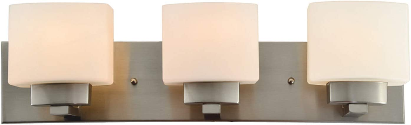 Design House 578005 Dove Creek Traditional Indoor Dimmable Light with Square Frosted Glass, 3, Satin Nickel