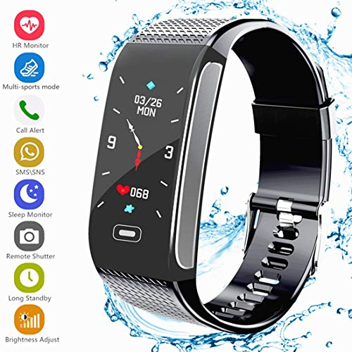 Fitness Tracker HR, Activity Smart Bracelet Wristband with Pedometer Heart Rate Monitor Step Calorie Distance Track Waterproof IP67 Call SMS SNS Remind for Men Women Kids Compatible with Android iOS