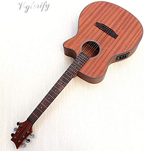 Guitarra acústica de madera de caoba maciza de 40 pulgadas, con función de tabla de golpeo para micrófono, guitarra eléctrica folclórica para principiantes: Amazon.es: Instrumentos musicales