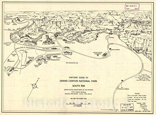 - Historic 1957 Map | Visitors' Guide to Grand Canyon National Park, South Rim. 60in x 44in