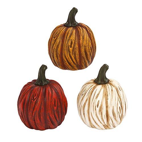 Autumn Fall Colored Resin Pumpkins Figurines Festive Pumpkin Decor (Set of (Resin Pumpkins)