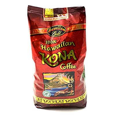 Hawaiian Gold 100% Kona Whole Bean Coffee 24.7 OZ (Pack of 1) + (6 Pack of M&M Milk Chocolate 1.69oz)