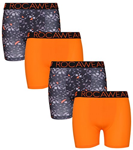 Rocawear Boy's 4 Pack Performance Boxer Brief, Camo and Orange, Small/7-8' by Rocawear (Image #6)