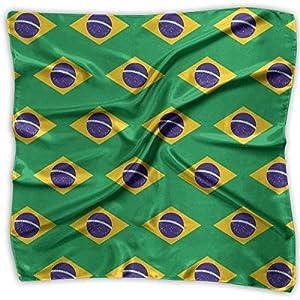 Women Vintage Brazil Flag Pattern Print Square Handkerchiefs Bandanas Head & Neck Tie Scarf