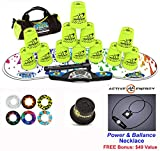 Speed Stacks Combo Set ''The Works'': 12 NEON YELLOW 4'' Cups, RAINBOW DROP Gen 3 Mat, G4 Pro Timer, Cup Keeper, Stem, Gear Bag + Active Energy Necklace