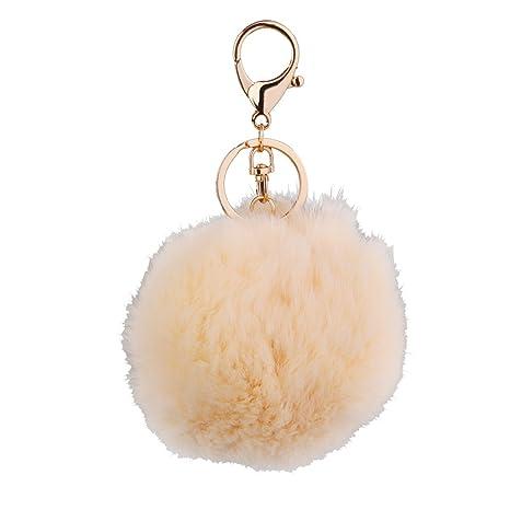 Portachiavi Pompon Pom-pom Dia.10cm Gancio Porta Fortuna Idea Regalo Feste  - Bianco crema b30c7d44e358