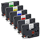 Office World 6 Pack Compatible Brother TZe-131 TZe-231 TZe-431 TZe-531 TZe-631 TZe-731 P-touch Label Tape Combo Set (0.47 Inch x 26.2 Ft), Use for Brother P-Touch PT-D210 PT-D200 PT-H100